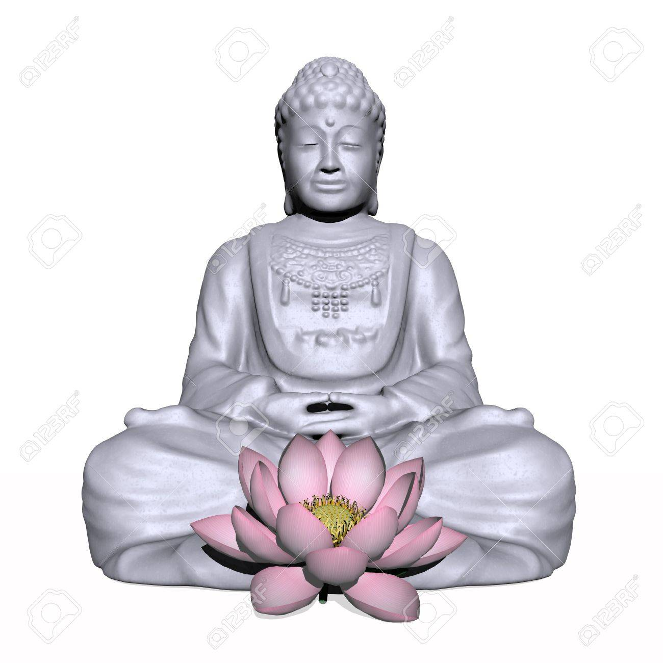 One Grey Buddha And Lotus Flower In White Background Foto Royalty