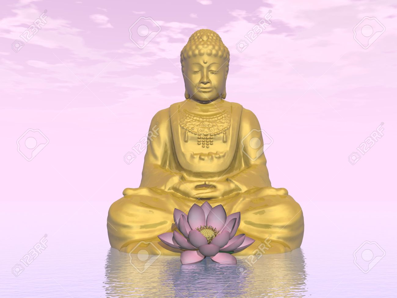 One Golden Buddha And Lotus Flower In Pink Background Stock Photo
