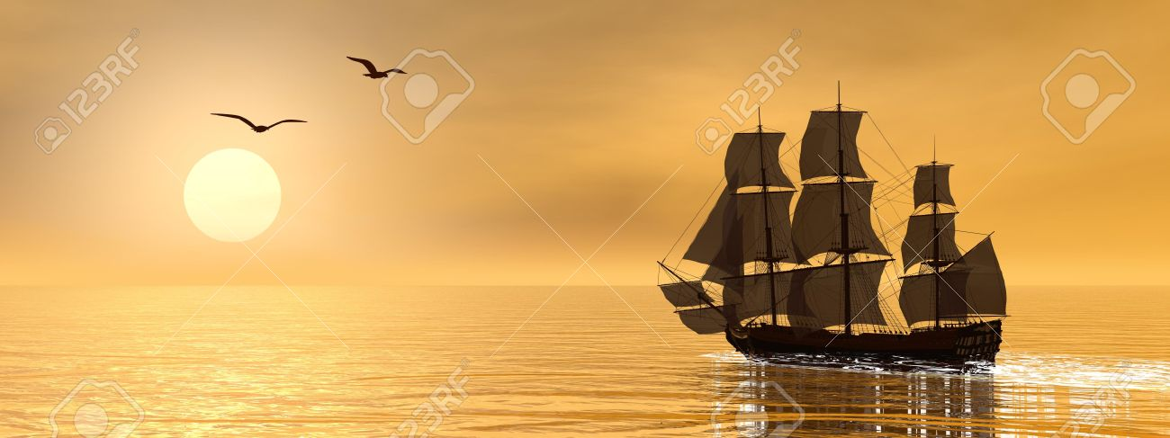 Beautiful detailed old merchant ship next to seagulls by sunset - 27869763