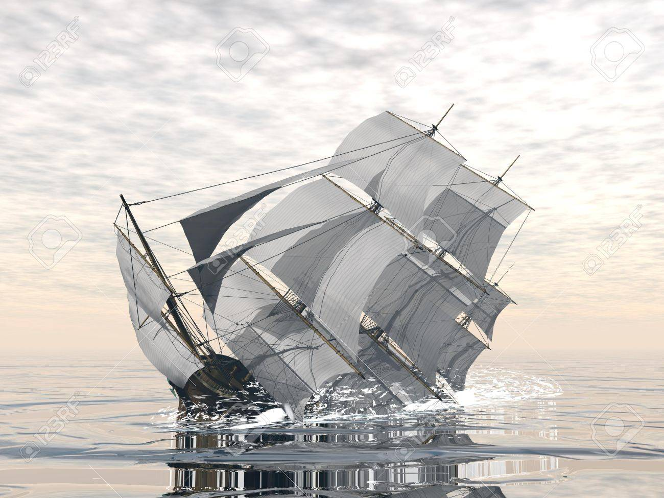 Beautiful Detailed Old Merchant Ship Sinking In The Ocean Stock Photo,  Picture And Royalty Free Image. Image 28263261.