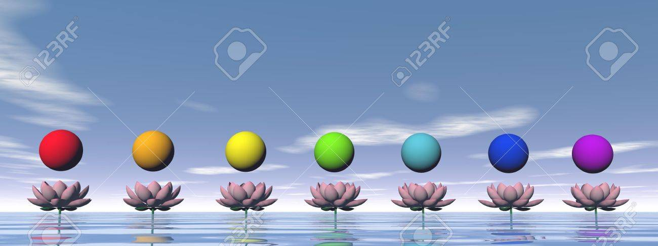 Colorful spheres for chakras upon beautiful pink lily flowers by day light Stock Photo - 28605557