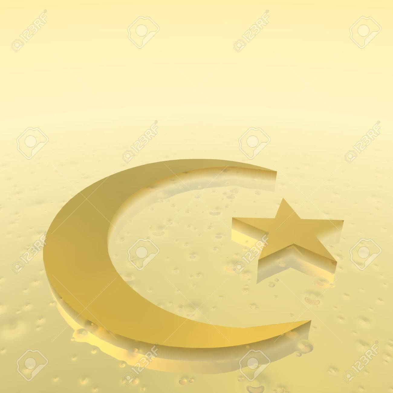Crescent And Star As Symbol Of Islam Religion In Golden Ground Stock