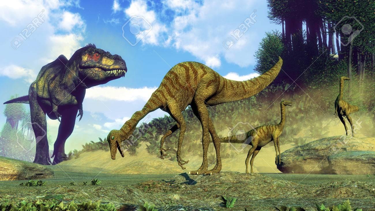 日中はティラノサウルス ・ レックス意外のガリミムス恐竜の群れ 3 D ...