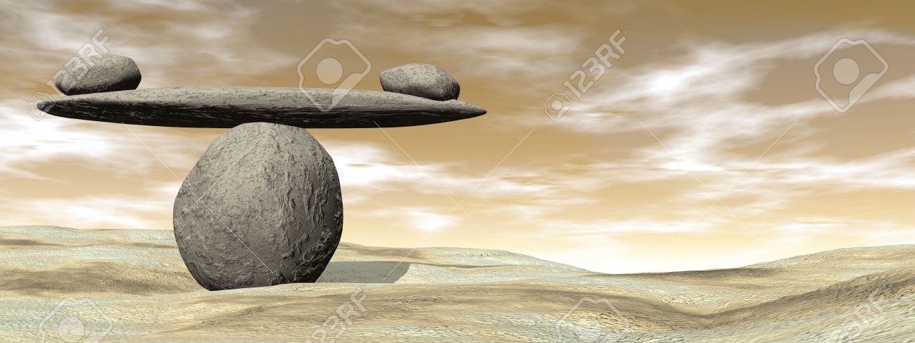 Balanced stones on the beach sand by brown sunset - 3D render - 50879264