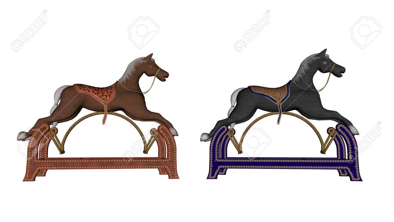 rocking spielzeug pferde isoliert in weißem hintergrund - 3d render