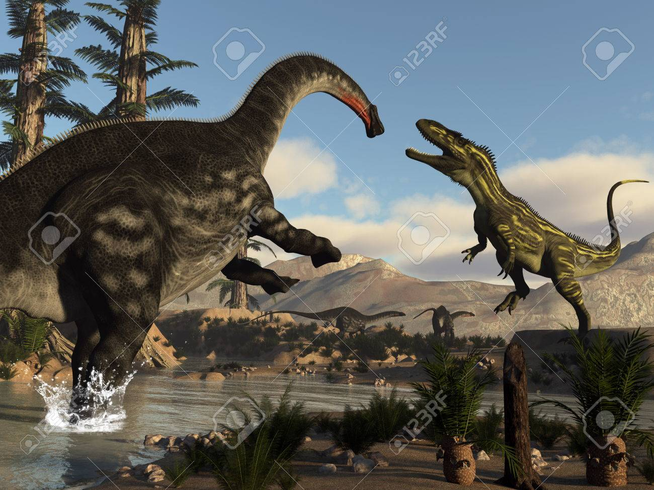 torvosaurus and apatosaurus dinosaurs fighting 3d render stock