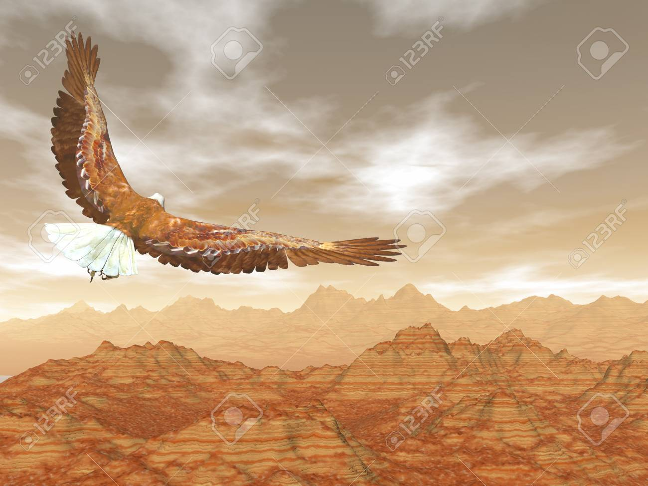 Bald eagle flying upon rocky mountains - 3D render