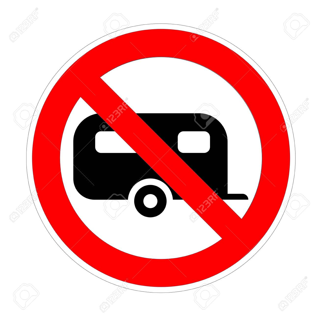 Warning banner no campervan, not allowed recreational vehicule rv symbol, ban caravans and camping car red prohibition sign - 136388147