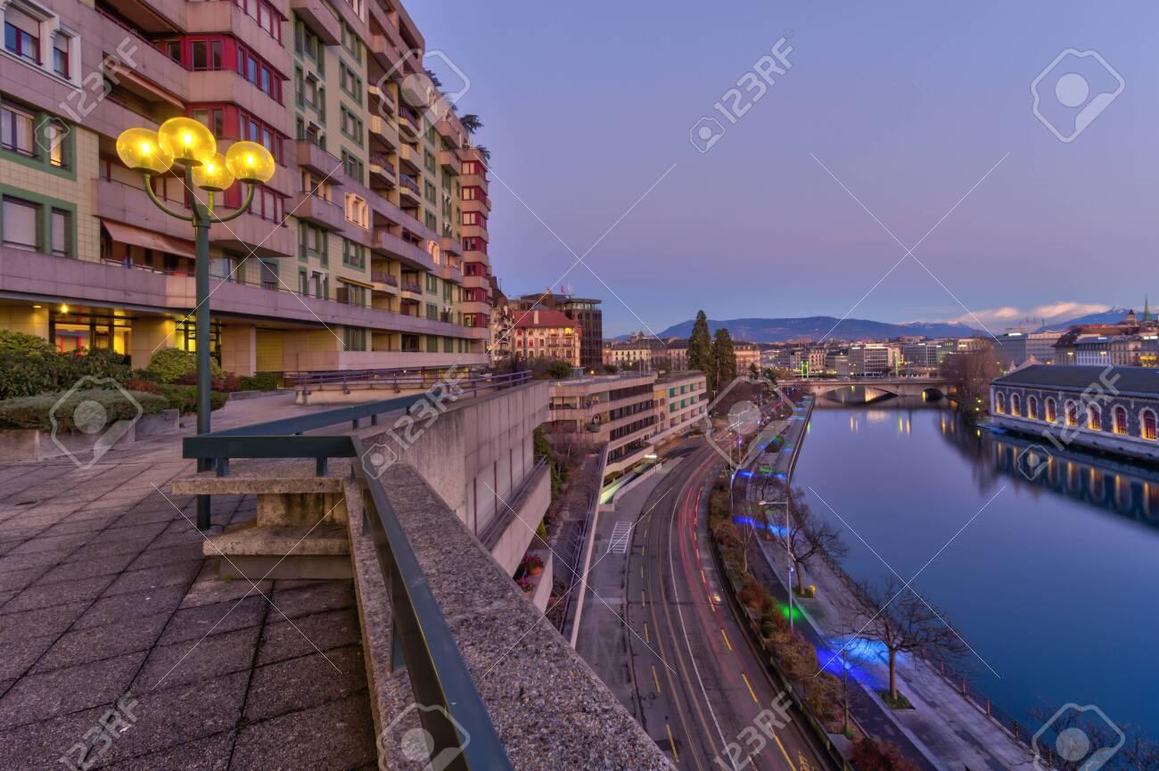 Rhone river and old buildings, Geneva, Switzerland - HDR - 144352863