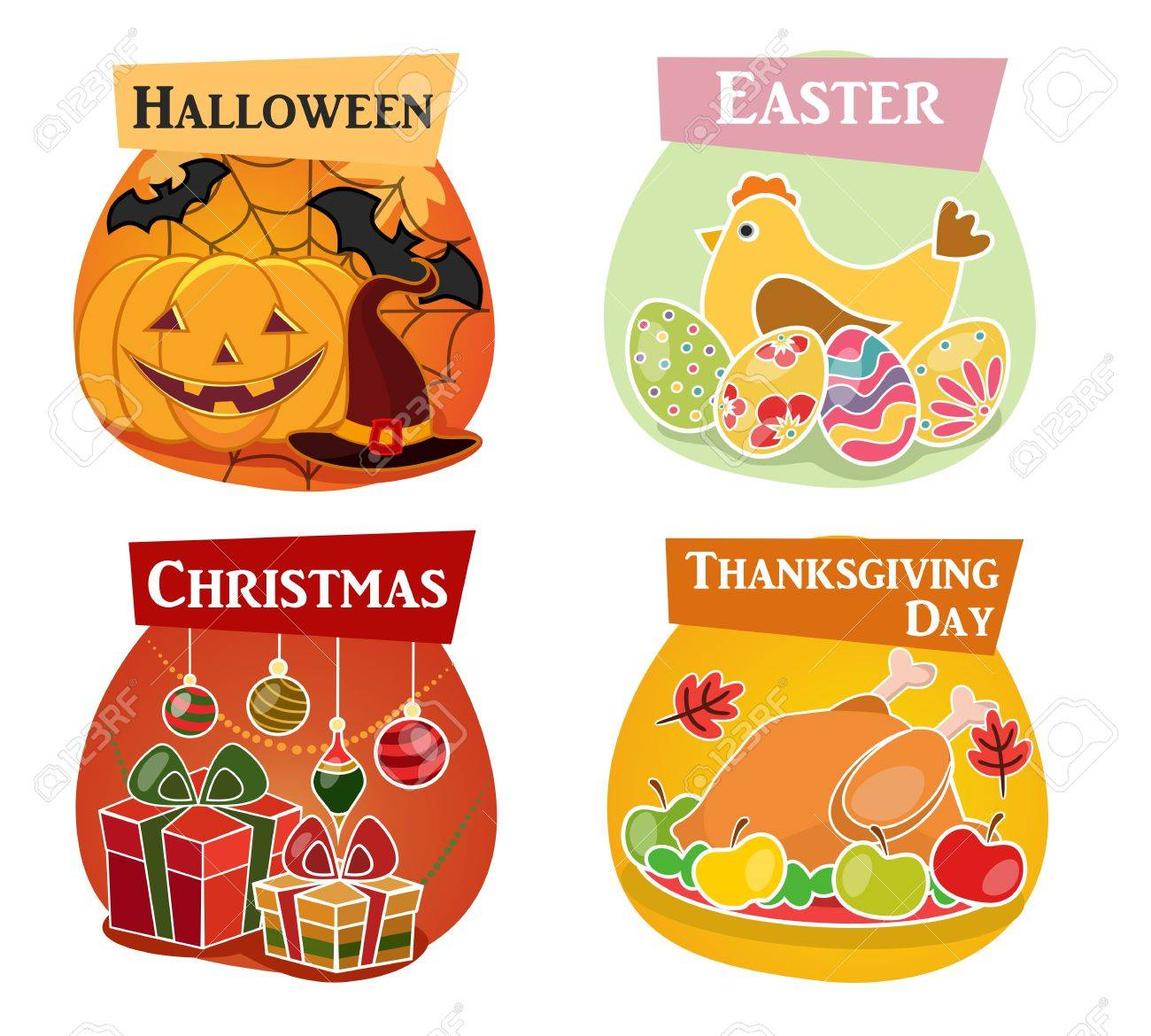 Halloween Thanksgiving Christmas Clipart.Thanksgiving Day Easter Halloween Christmas Flat Icons