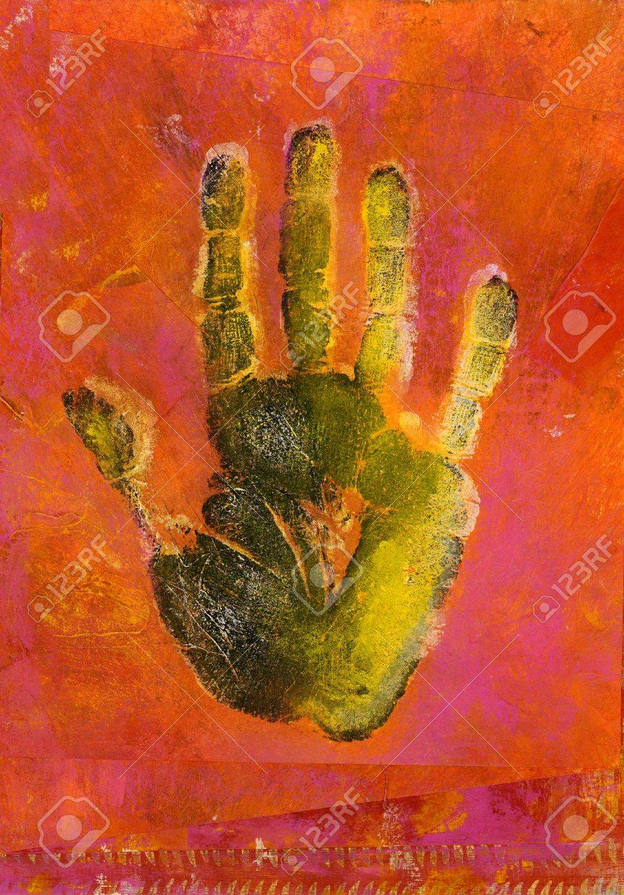 Mixed medium hand print painting. Stock Photo - 326557