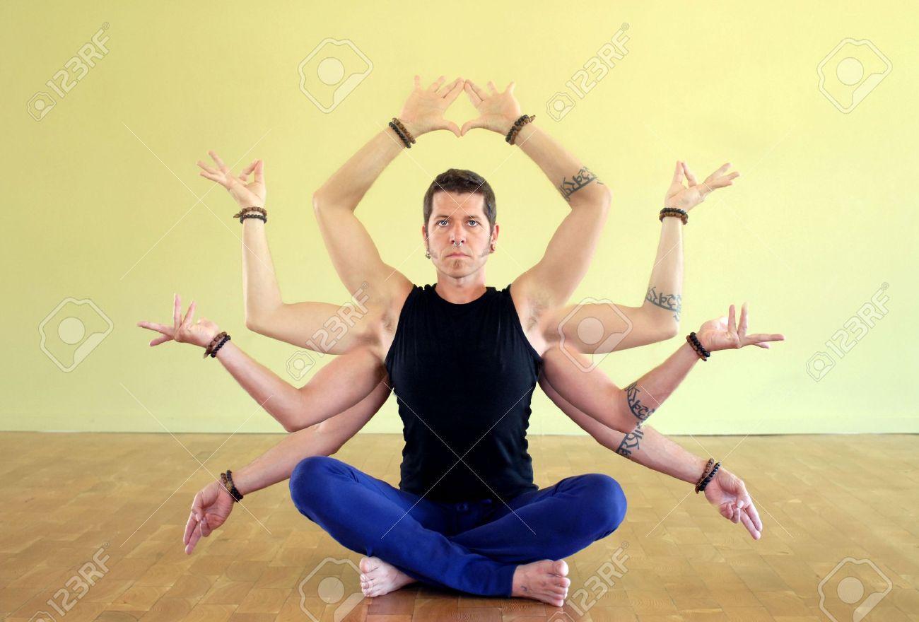 Man with eight limbs as manifestation of Shiva. The eight limbs of yoga are: Yama, Niyama, Asana, Pranayama, Pratyahara, Dharana, Dhyana, and Samadhi. - 4060630