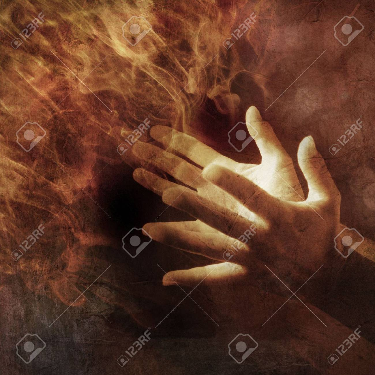 Hands lit up with energy light. Photo based illustration. - 5169118