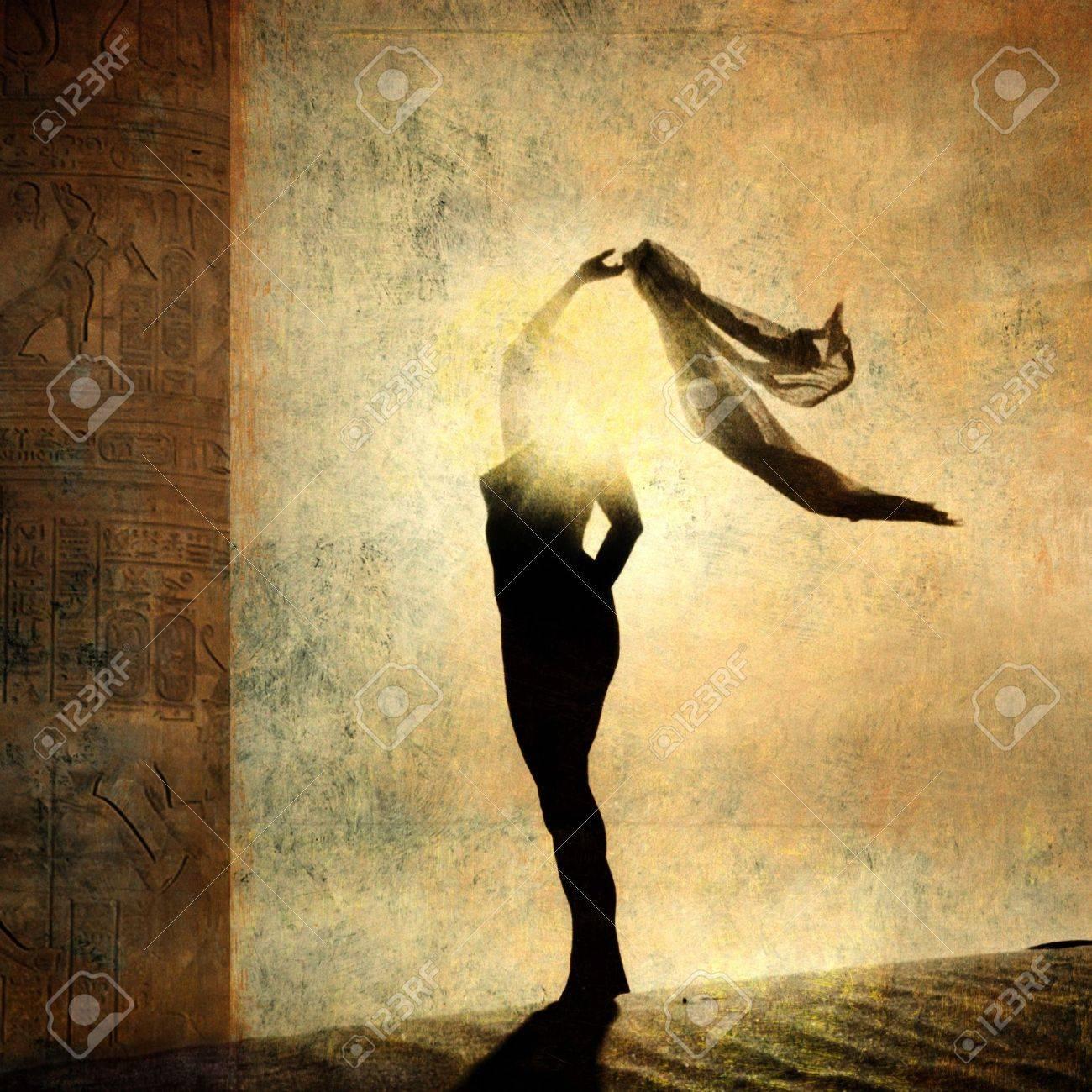 Silhouette of an illuminated woman. Photo based illustration. - 5161198