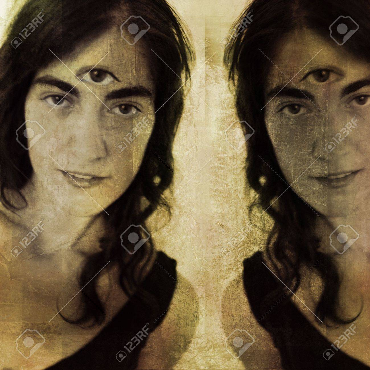 Woman with third eye and her reflection (or double). Photo based illustration. - 5161196