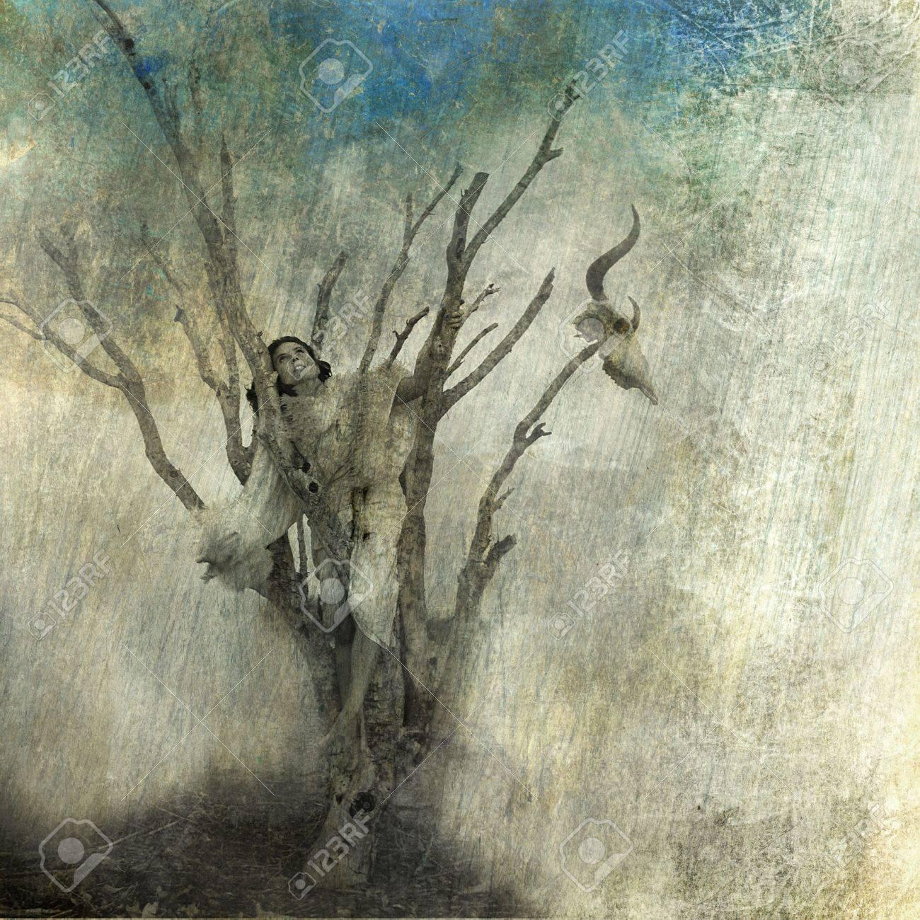 Woman in dead tree. Photo based mixed medium art. - 5161203