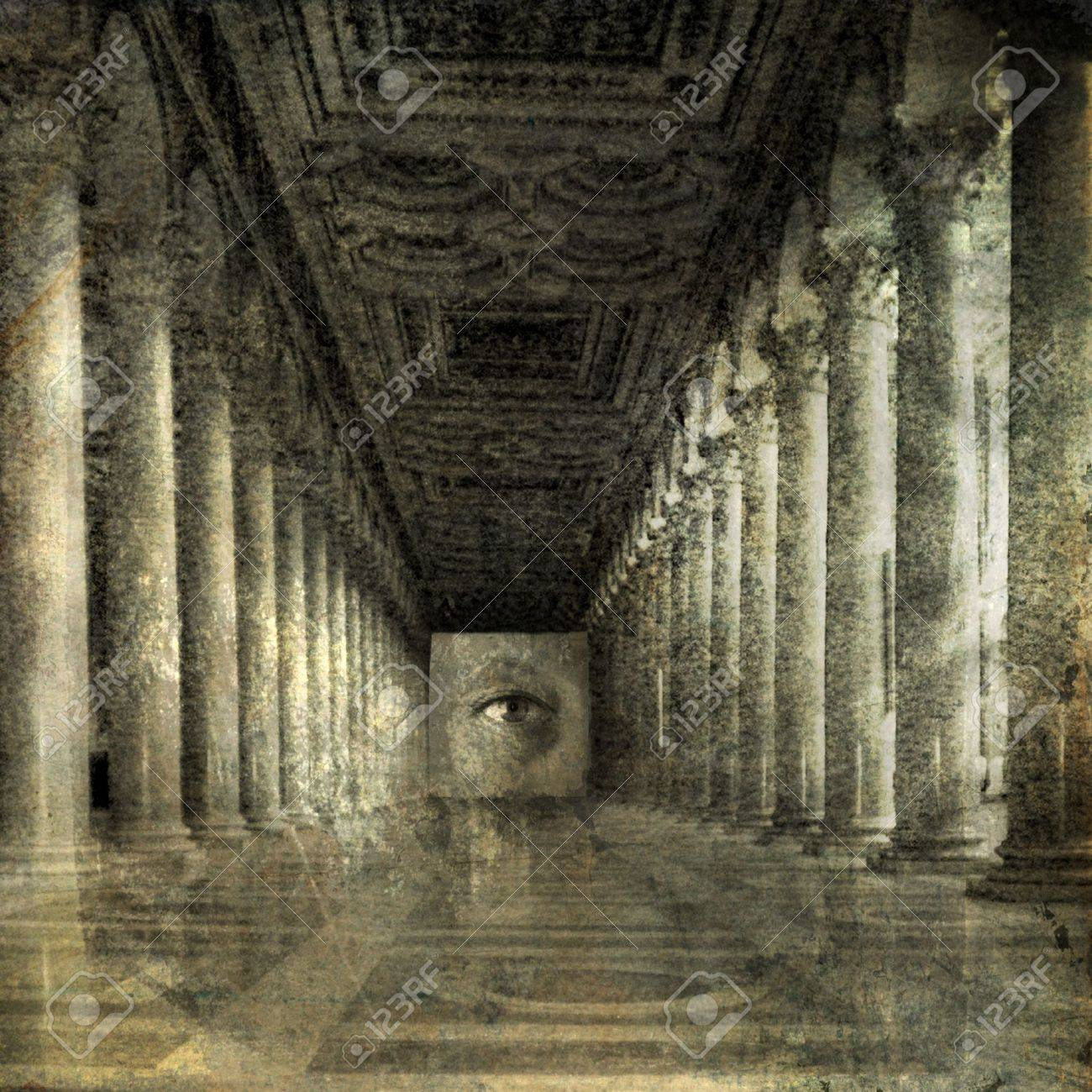 Eye at the end of Roman columns. Photo based illustration. - 5169128