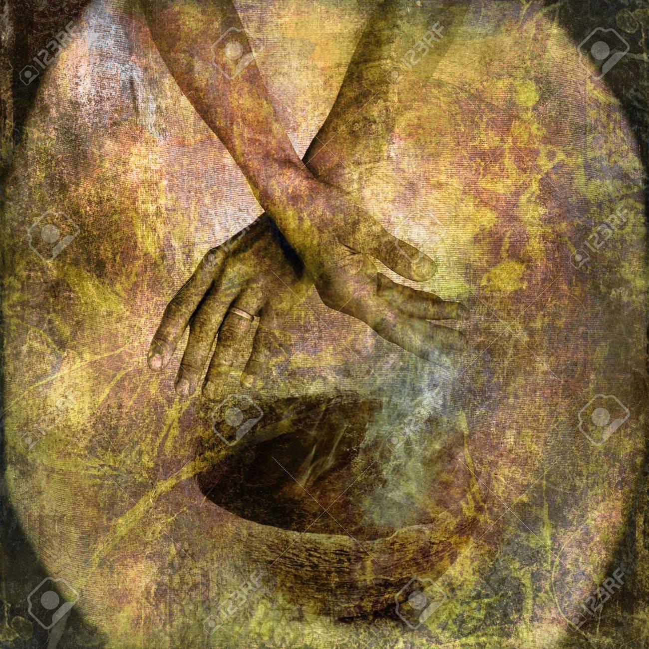 Hand with bowl and smoke. Photo based illustration. Stock Illustration - 5169099