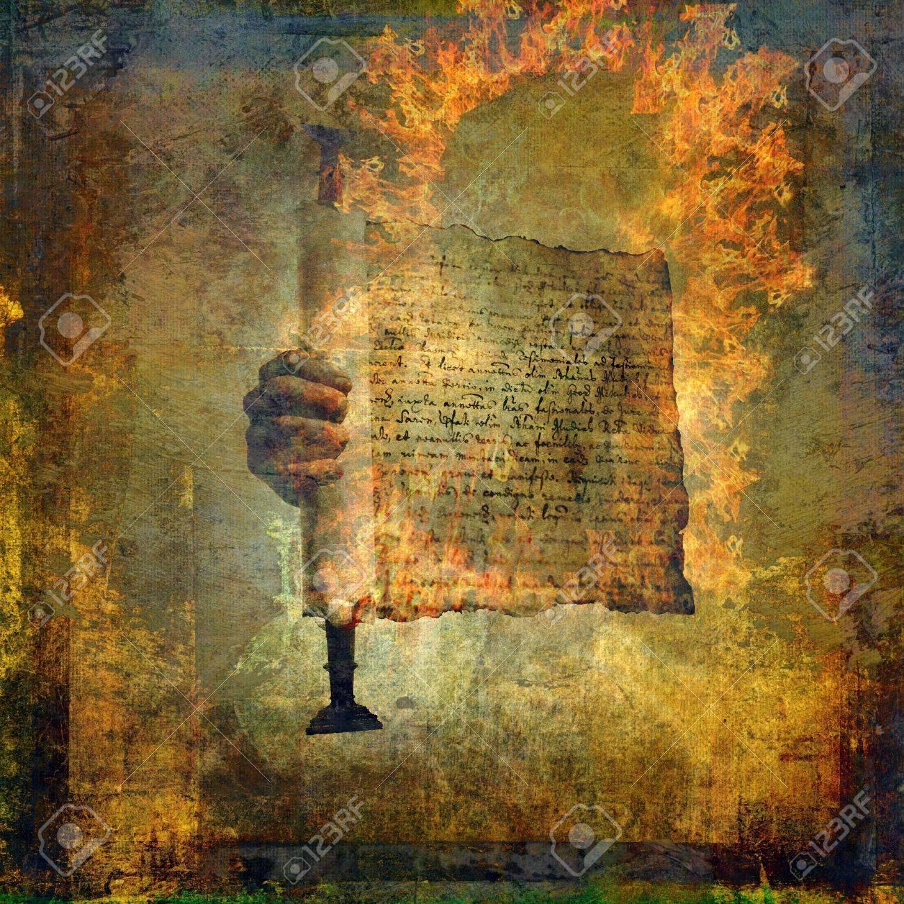Hand holding a burning scroll. Photo based illustration. - 5169119