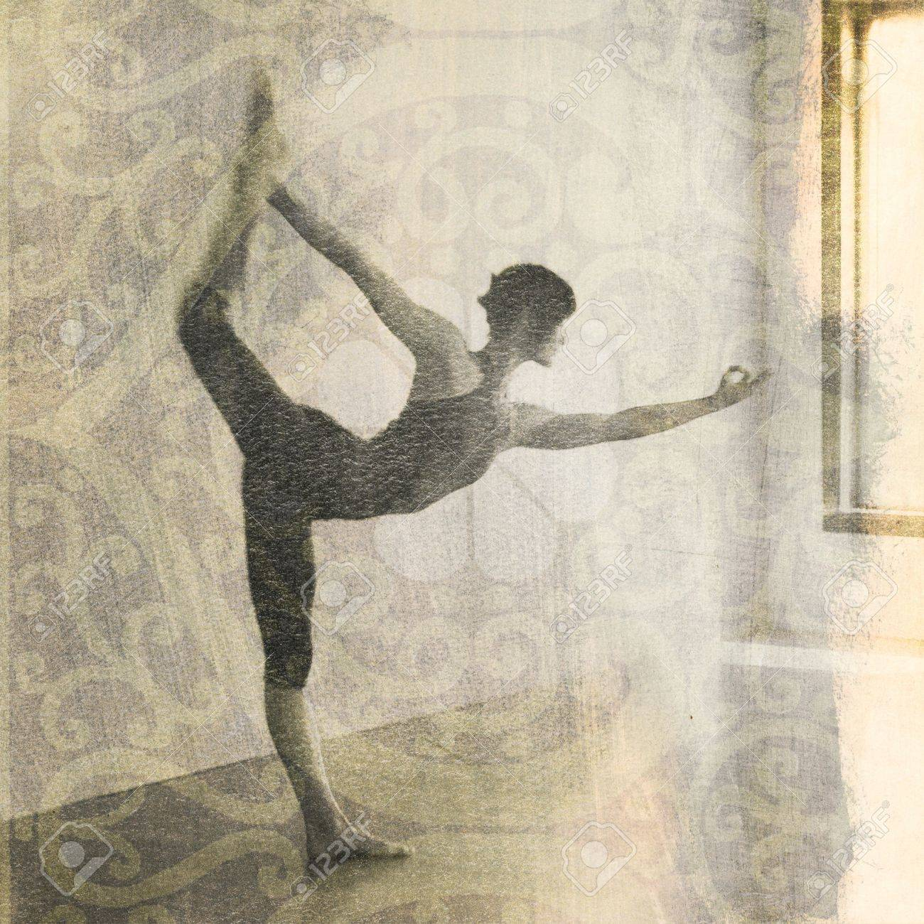 Woman in yoga pose Natarajasana or dancer's pose. Scan of alternative fine art photography print. Stock Photo - 5161192