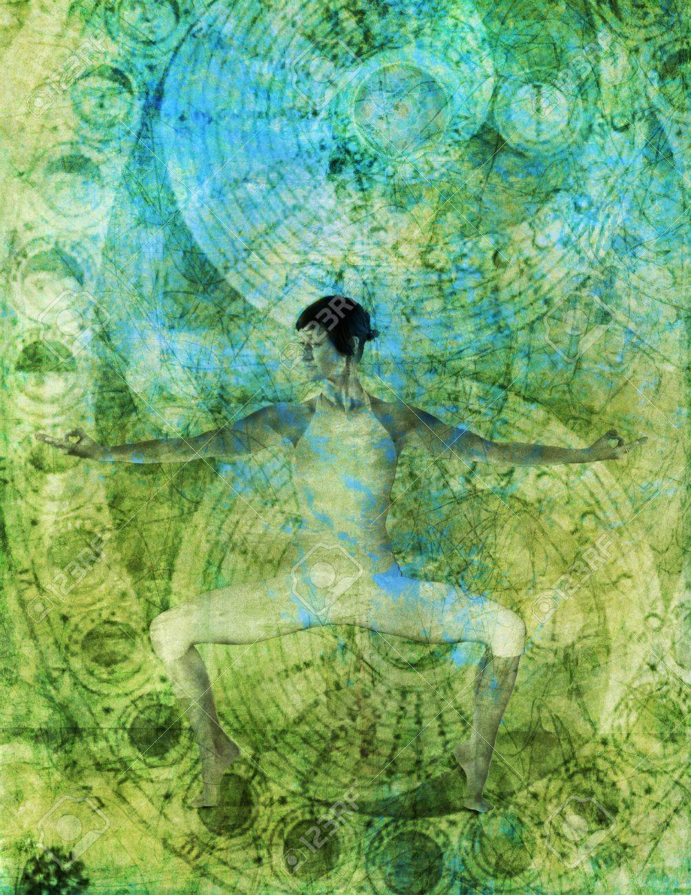Woman in yoga pose with alchemical chakra flow. Stock Photo - 5815882