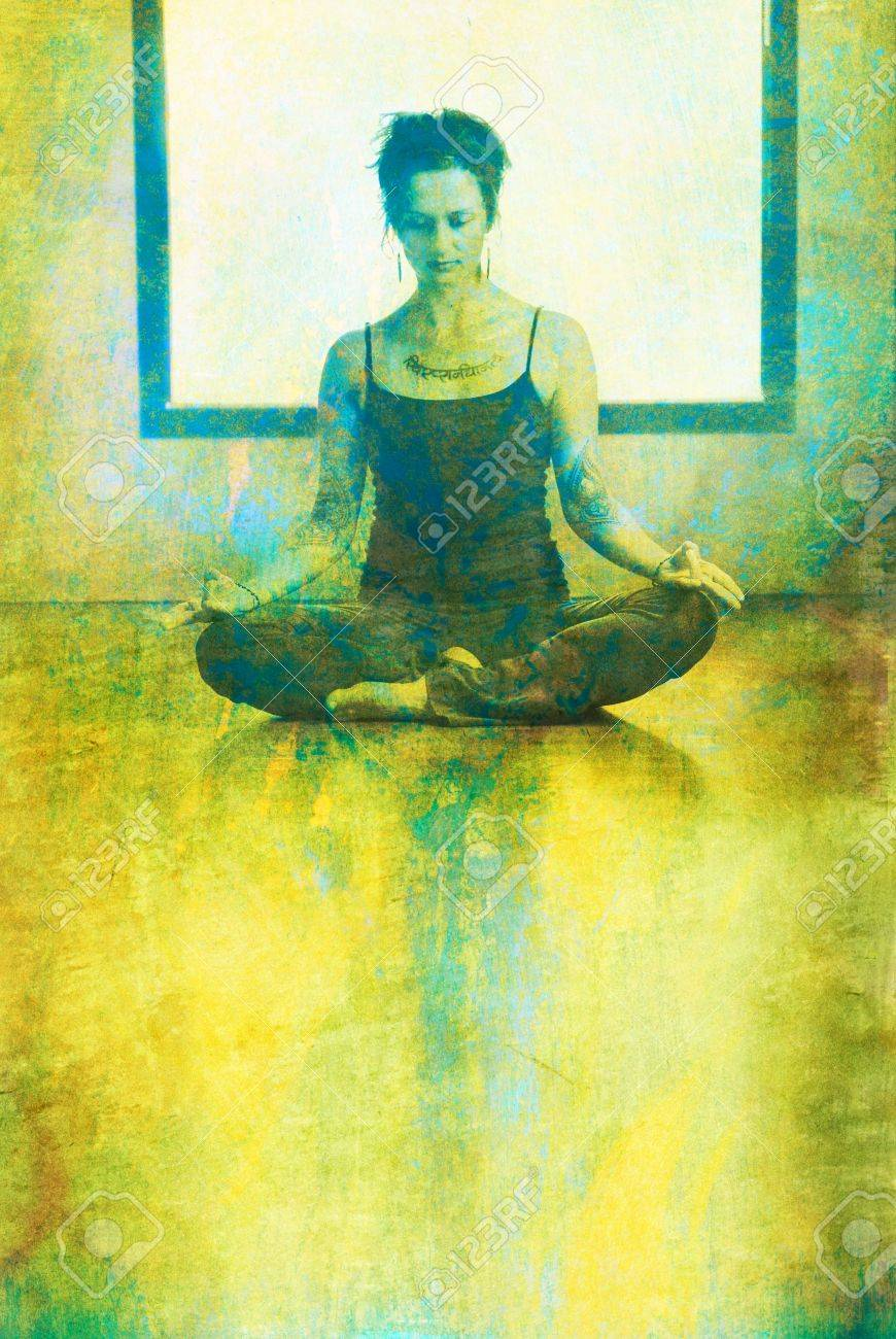 Woman in yoga mediatation posture indoors before a window. Photo based mixed medium illustration. - 5924843