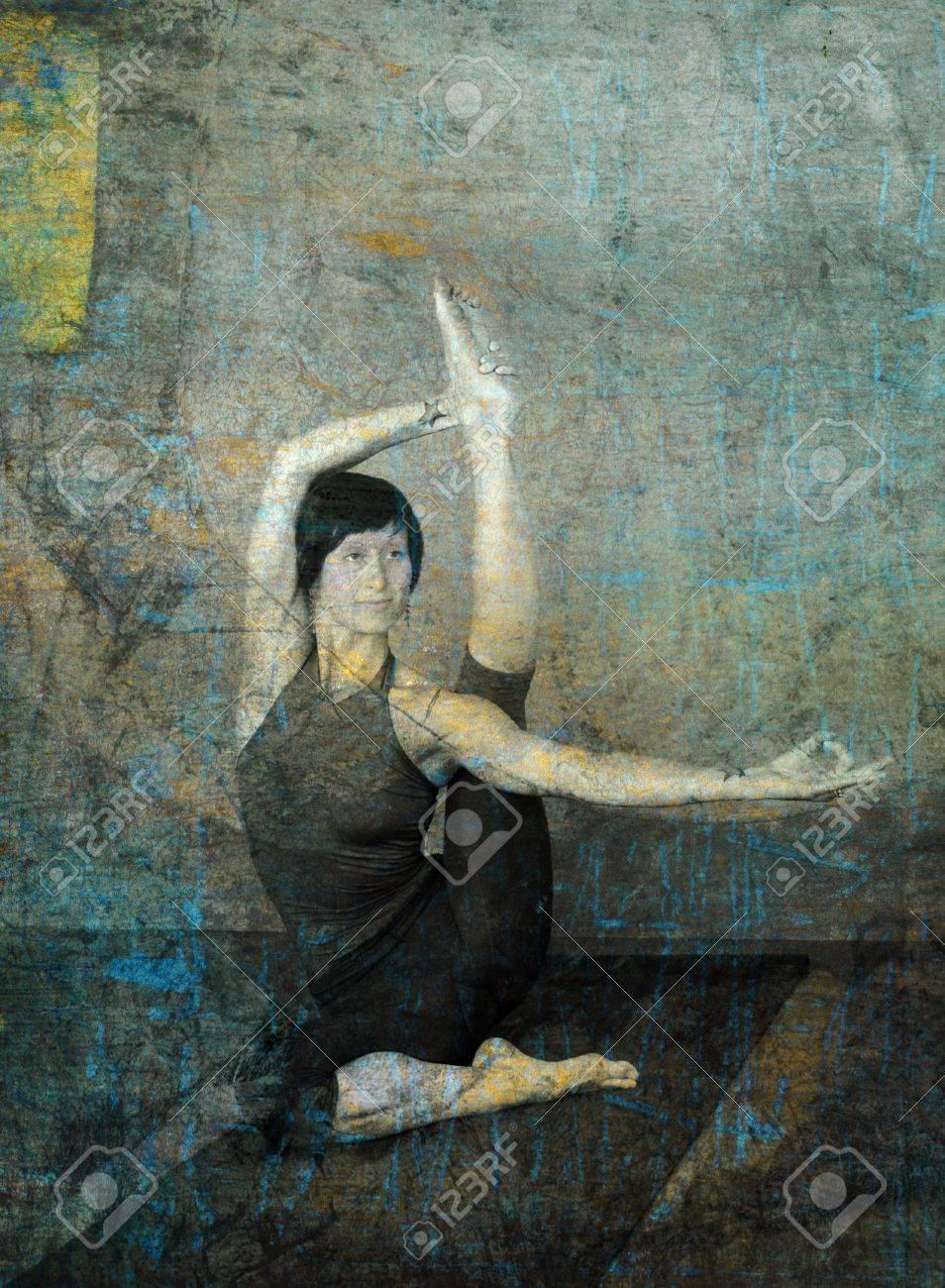 Woman in yoga pose photo based illustration. Stock Photo - 5924842