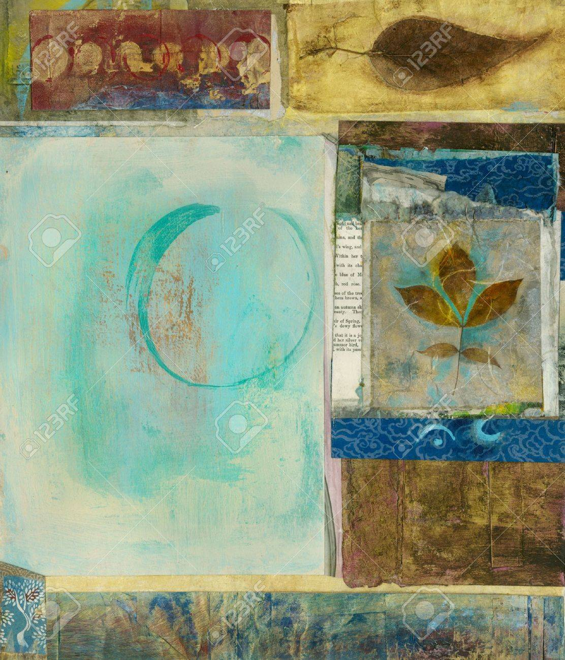 Mixed medium art collage with panels of leaves and a circle. - 7352146