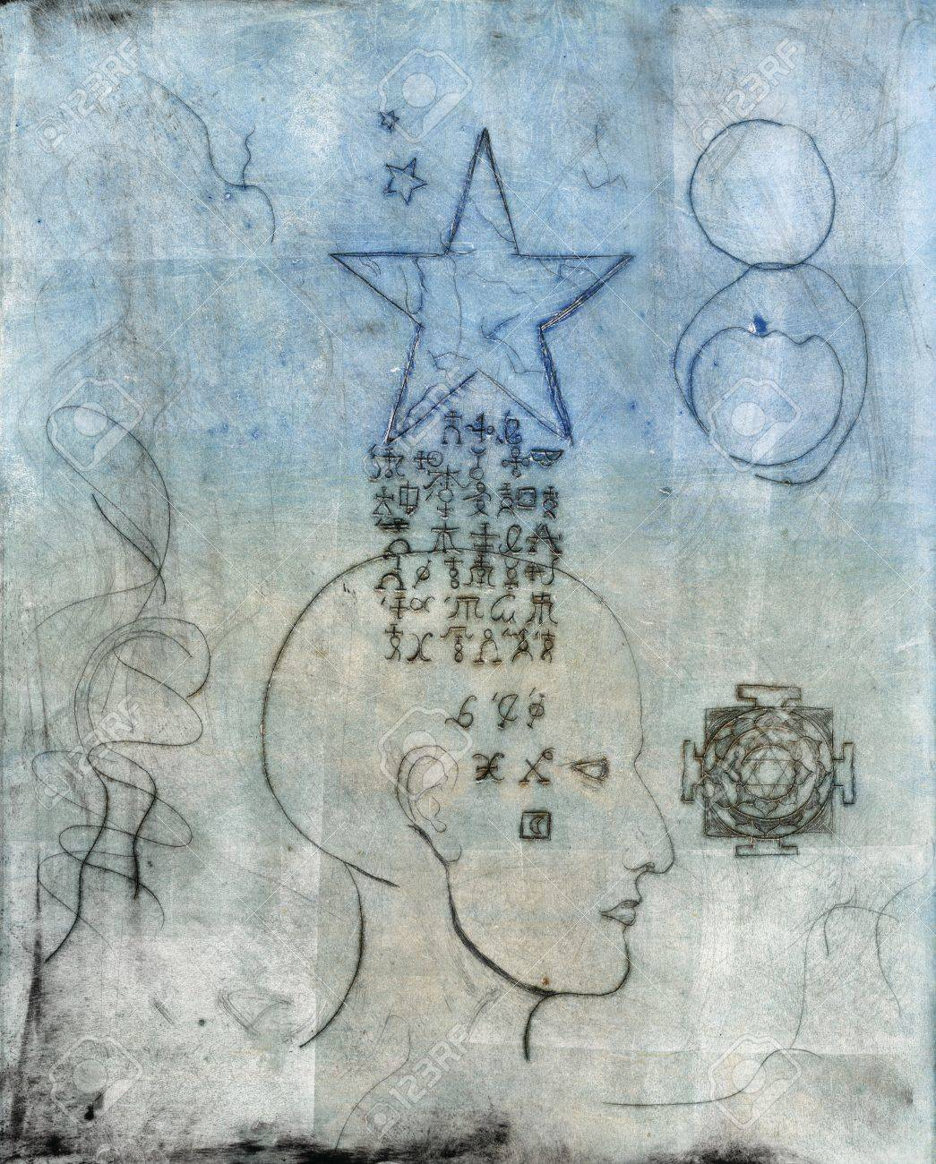 Monoprint of a human head with alchemical symbols coming through from a star. - 8216495