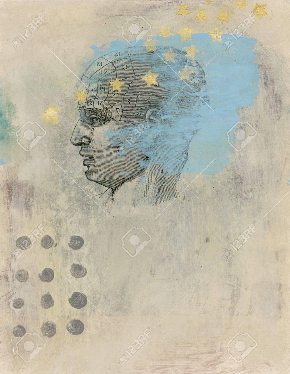 Phrenology head with stars. Acrylic and Gel medium transfer on paper mixed medium art. - 8216491
