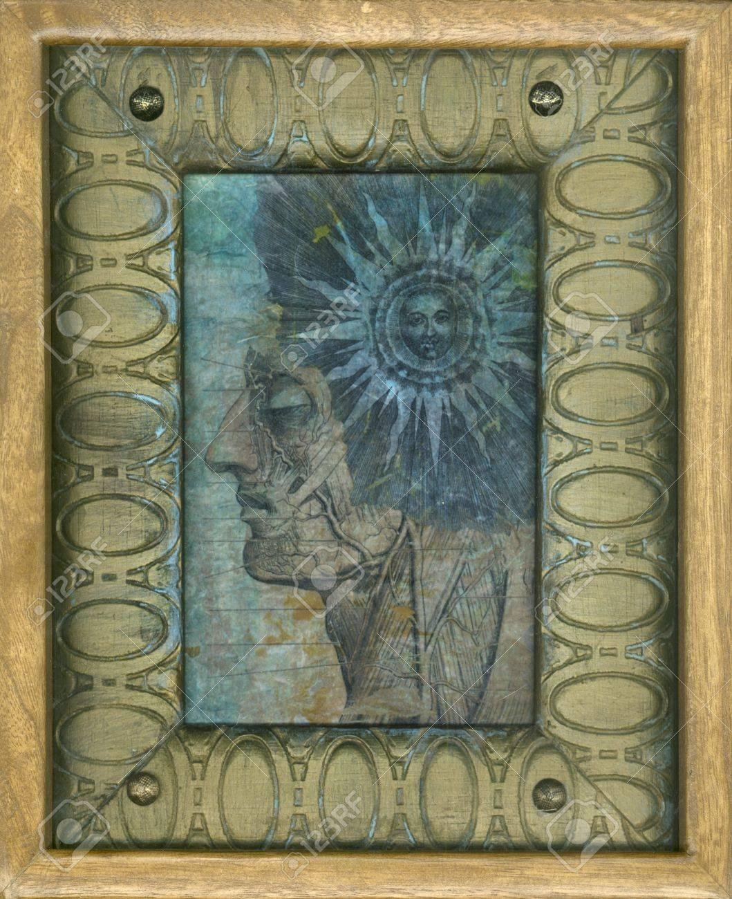 Ancient sun and anatomy gel medium transfers on kinwashi, in wood frames - 15512576