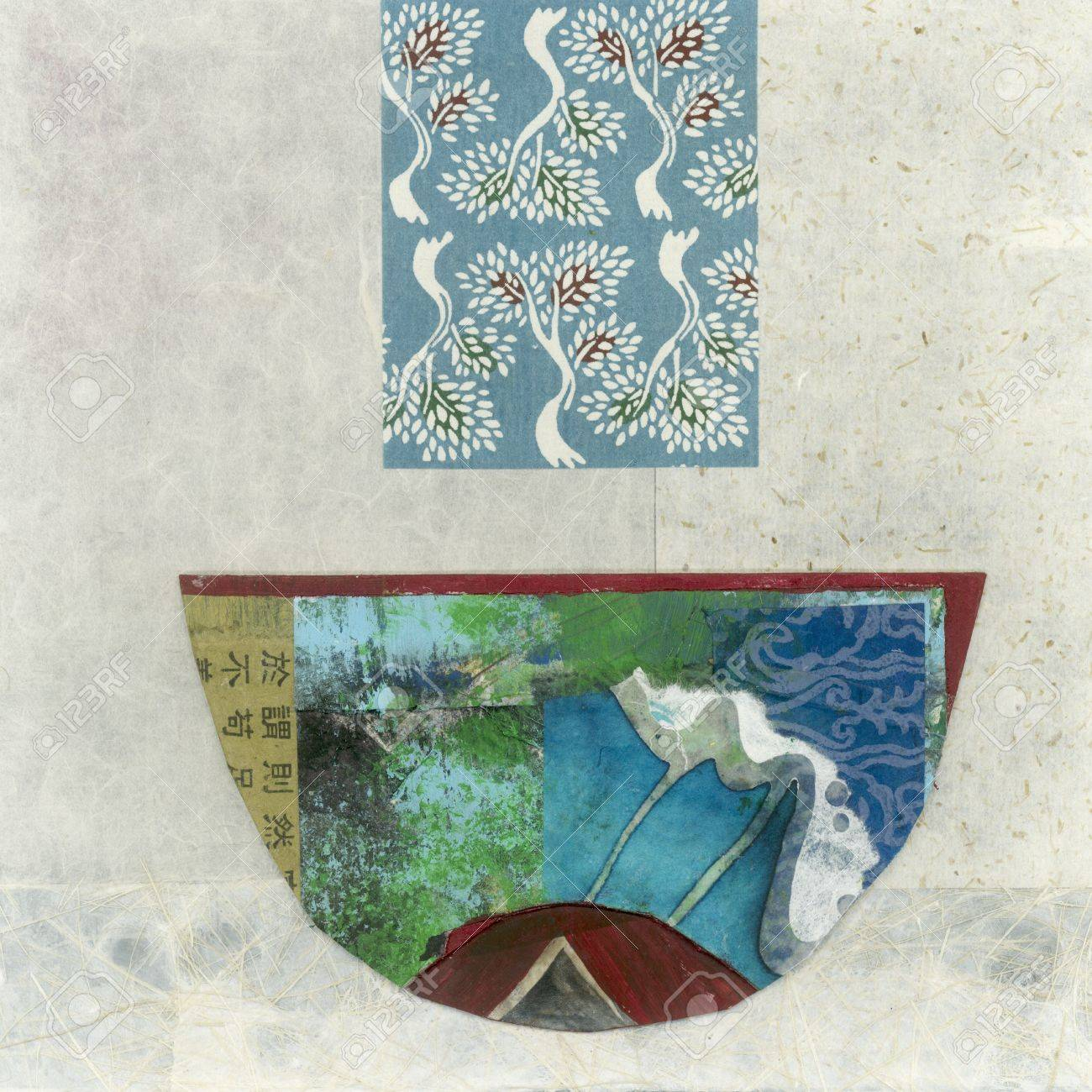 Abstract asian paper collage of a bowl. - 15512650