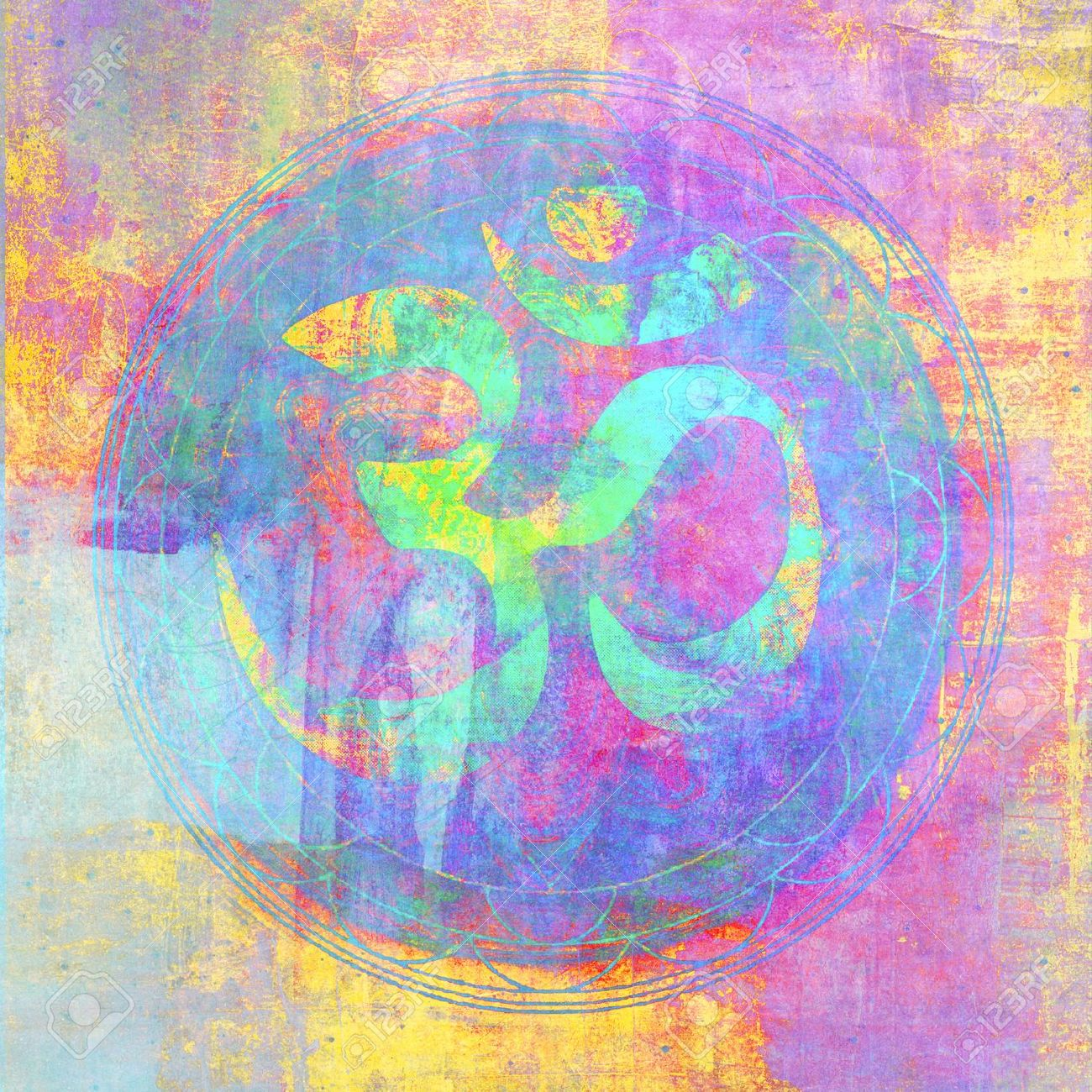 Om sign illustrated with higher chakra colors - 15512641