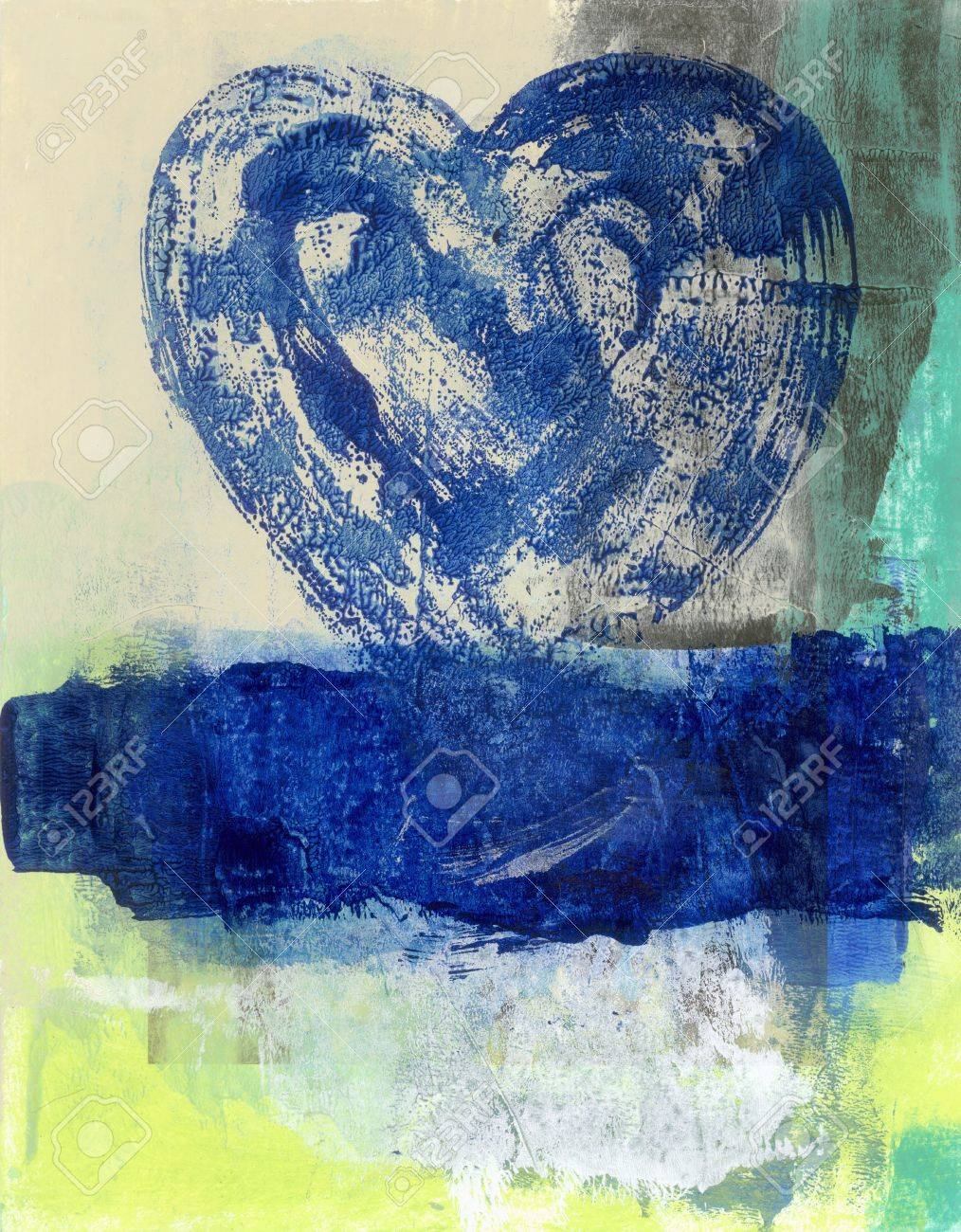 Abstract painting of a blue heart rising from a blue water - 15512654