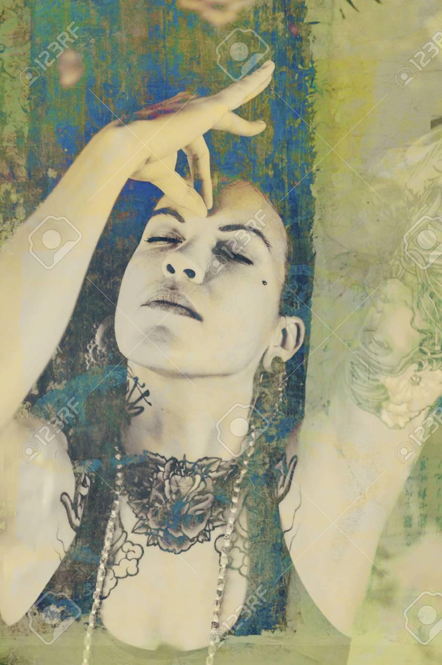 Grunge Mixed Media image of third eye meditation - 17162410