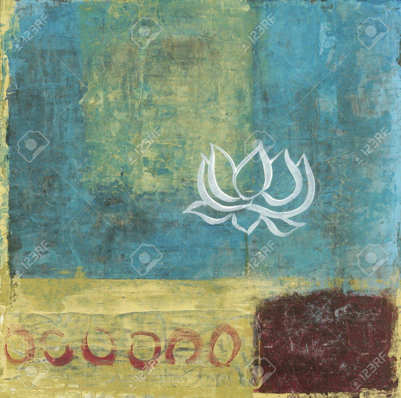 Abstract background painting with a single simple lous blossom - 17168004