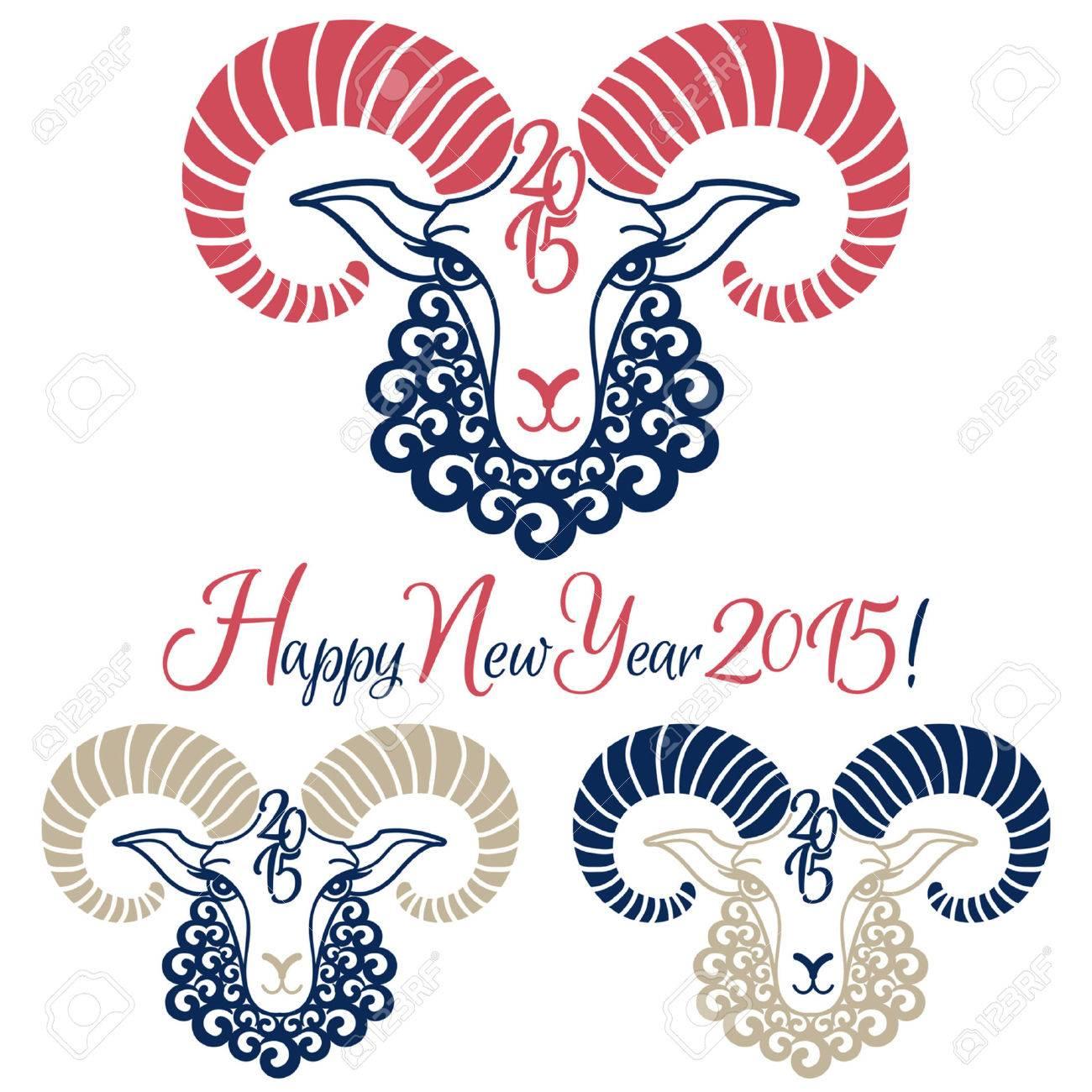 羊 15年ベクトル イラストの年を設定します 新年のご挨拶 中国の黄道帯の記号です のイラスト素材 ベクタ Image