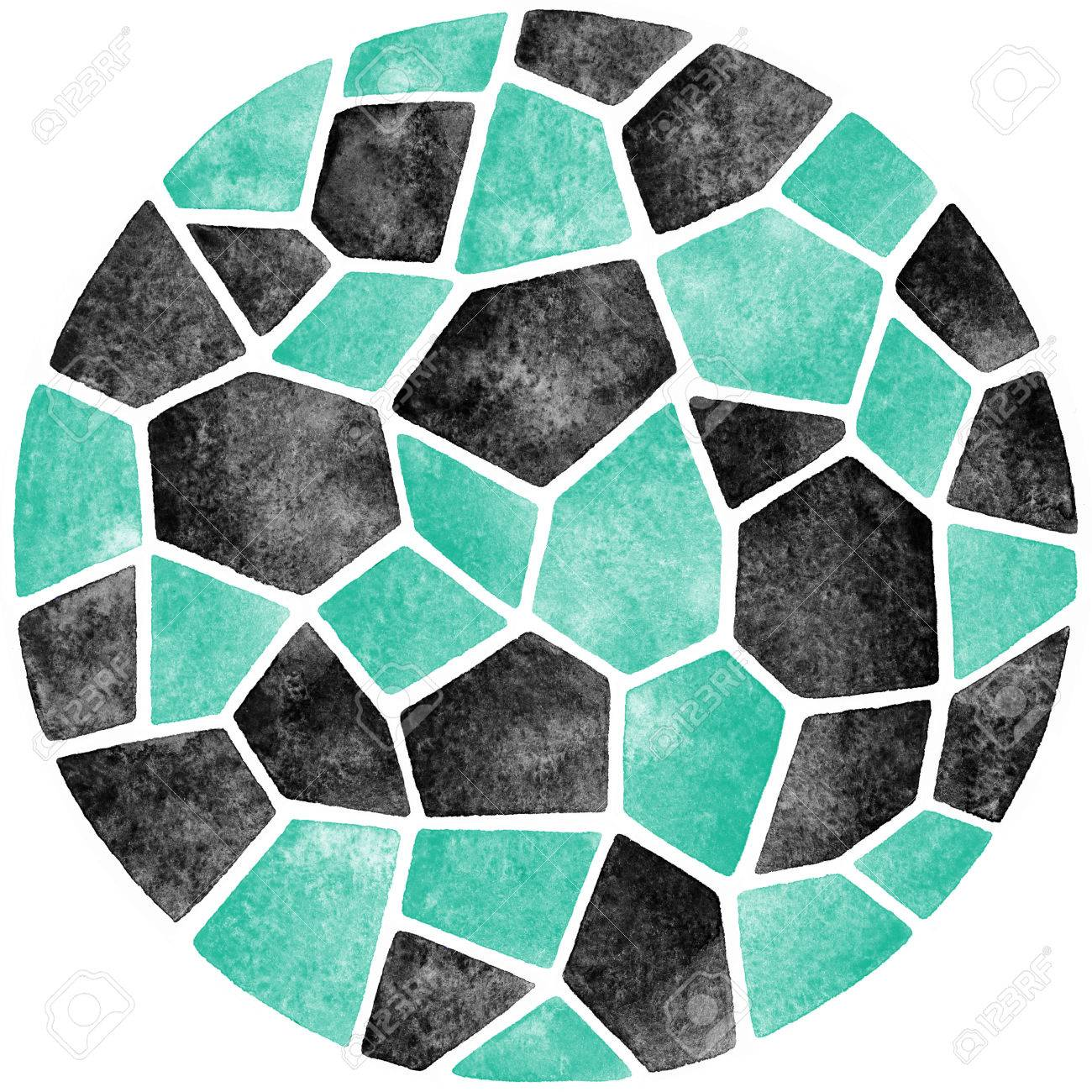 Schwarz Und Mintgrün Abstraktes Aquarell Vorlage. Rund Polygonalen ...