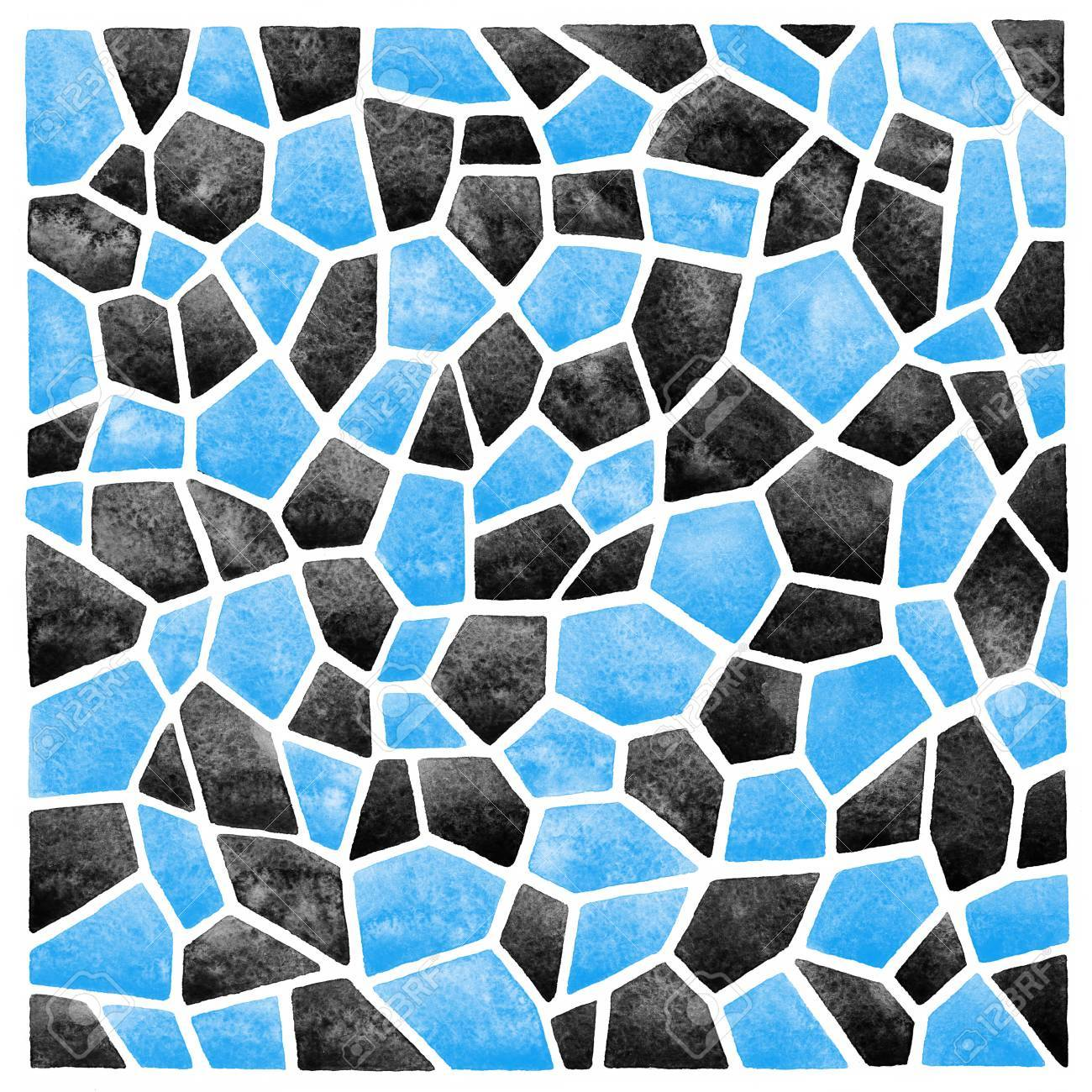 Black And Blue Abstract Square Watercolor Background. Polygonal ...