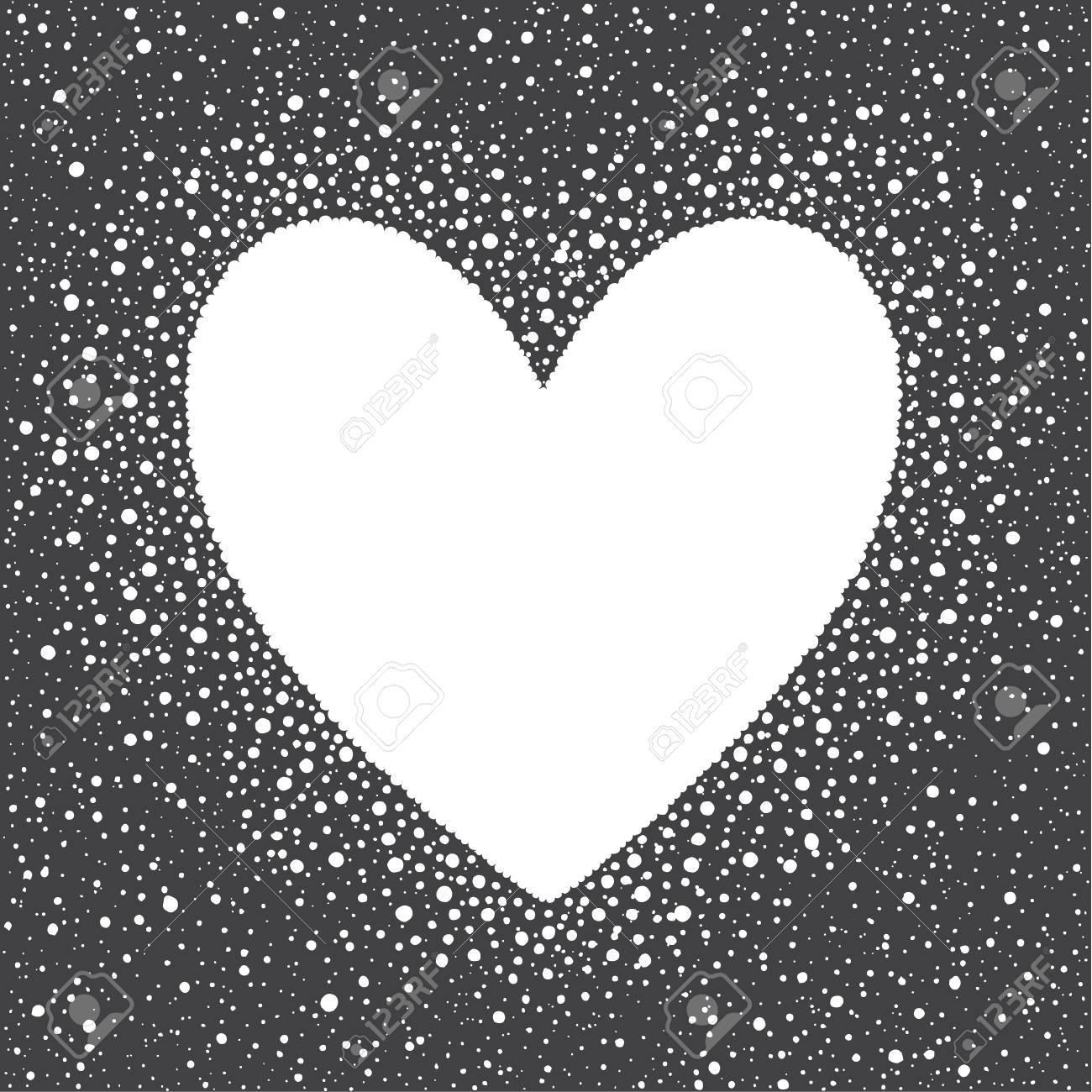 Herzform Schnee Rahmen Mit Leeren Raum Für Ihren Text Winter