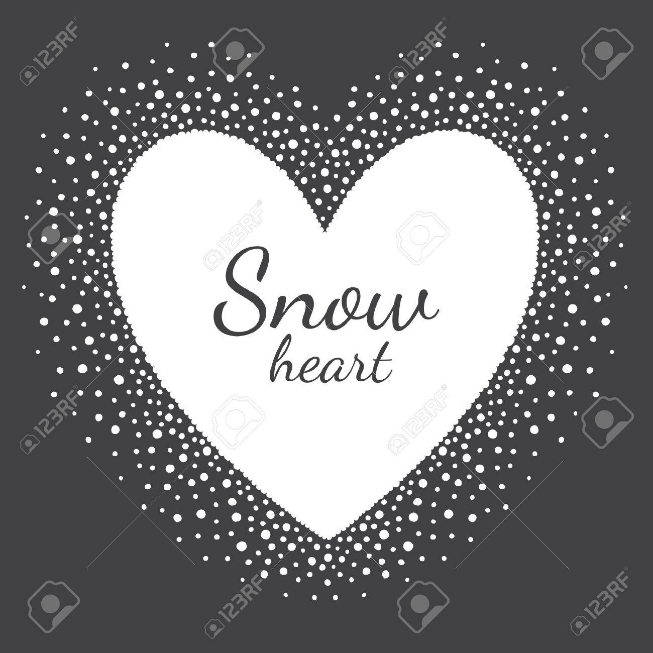 Heart Shape Snow Frame With Empty Space For Your Text. Winter ...