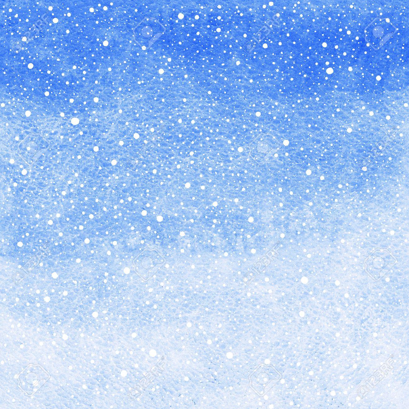 Acuarela Abstracta Fondo De Invierno Con La Caída De La Textura De