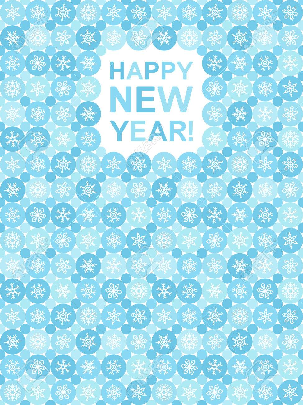 Simple Flat Design Happy New Year Greeting Card With Various