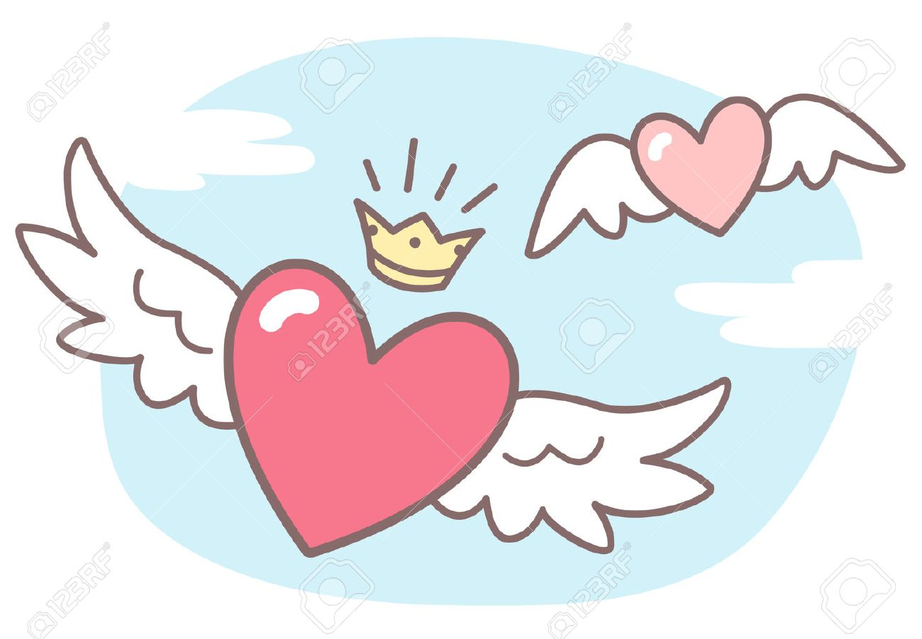 hearts with wings sky with clouds valentines day vector rh 123rf com pictures of hearts with wings pictures of hearts with wings to color