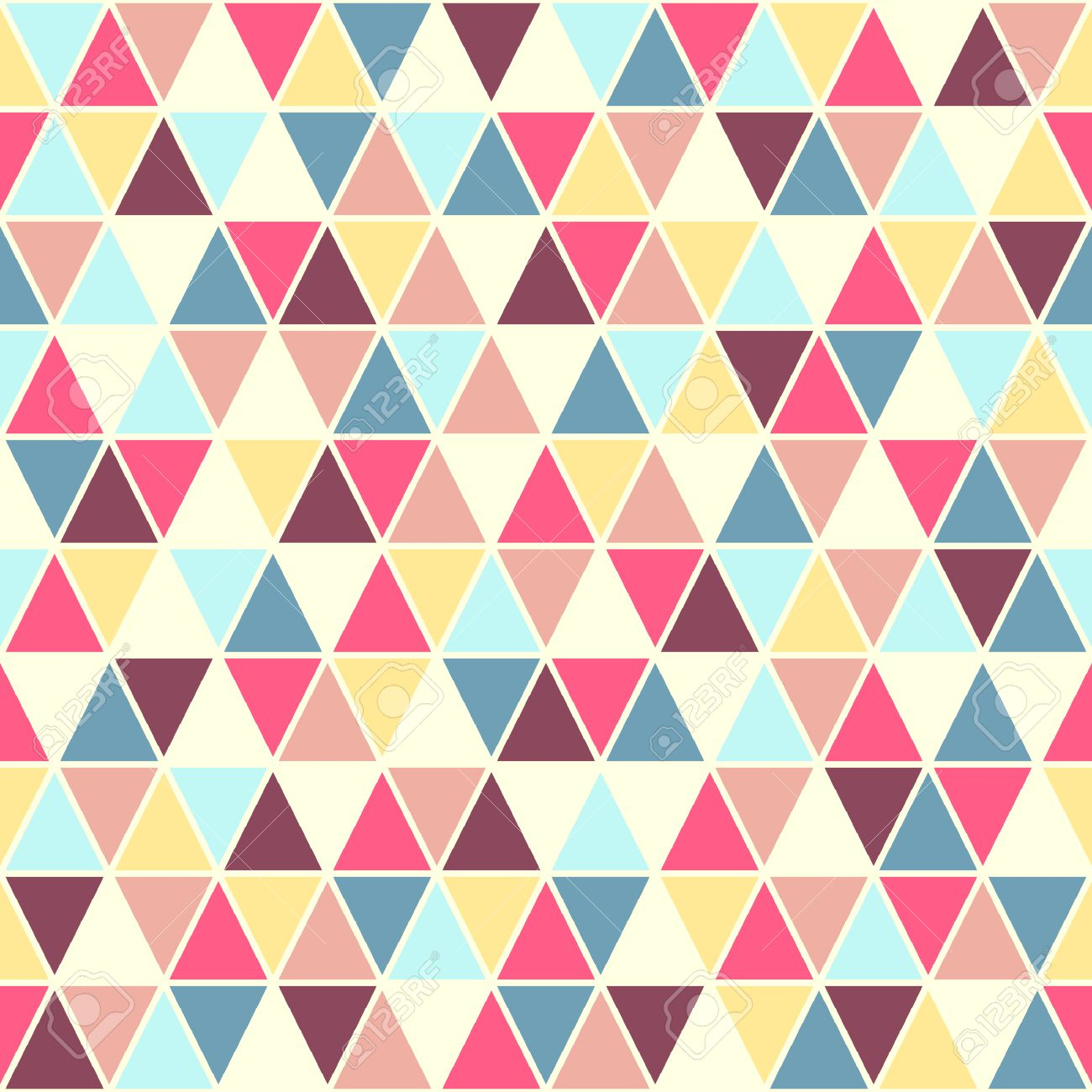 Colorful triangles seamless vector pattern  Geometrical retro