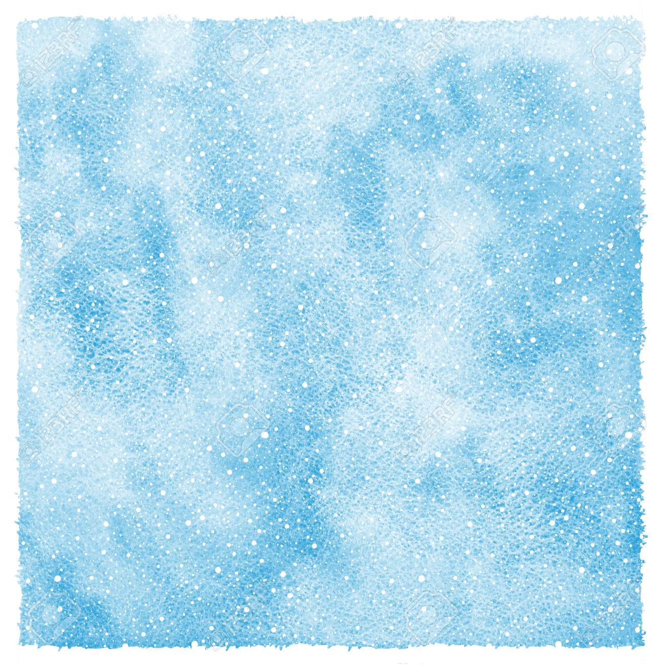 winter watercolor abstract background with falling snow splash