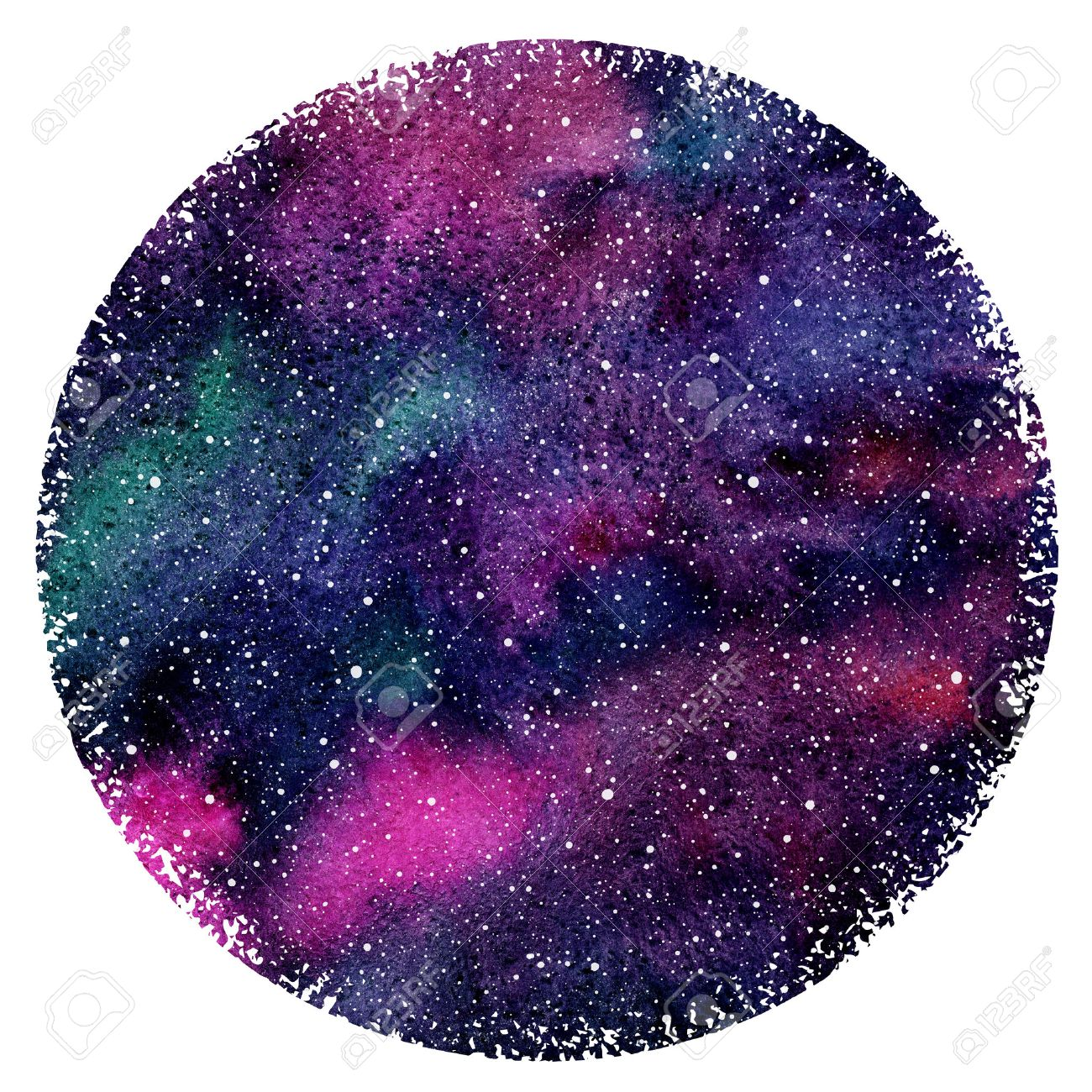 watercolor night sky or galaxy with colorful stains and stars