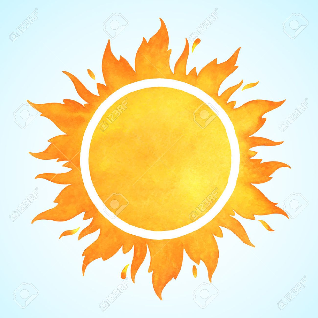 Watercolor vector sun with crown and sparks. Fire circle frame. Sun shape or flame border with space for text. - 53166047