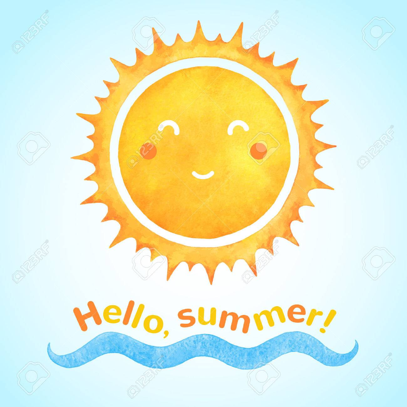 Watercolor Vector Smiling Sun With Cartoon Funny Face And Sea Wave. Hello,  Summer!