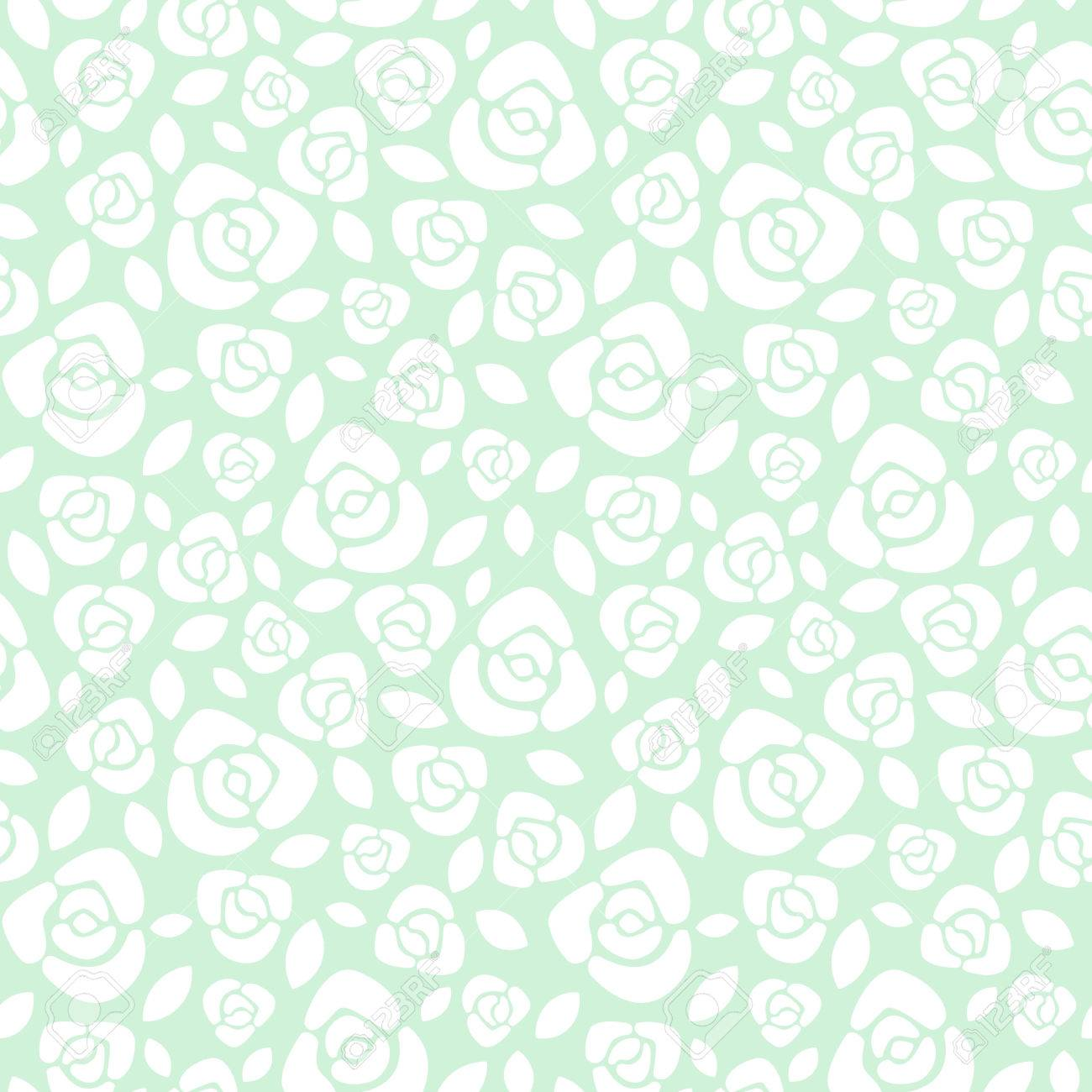 Simple Roses Floral Seamless Pattern Flat Design Roses With